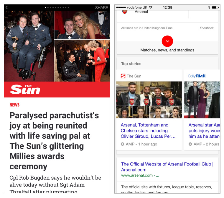 AMP and Facebook Instant Articles (screen shots pictured here) became a key part of The Sun's success in driving traffic and reaching a much larger audience over the past year.