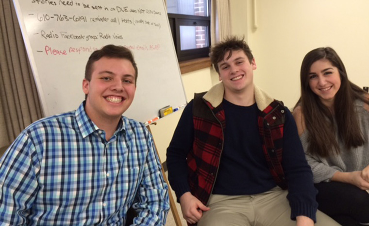 From left, current Voices interns Kyle Edelman and Hunter Gajewski, with former intern Deanna Lupia, now a freshman at Bloomsburg University.