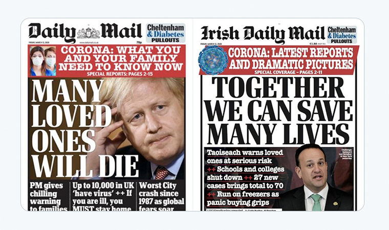 Two front pages from the same day illustrate the different approach of constructive journalism, providing hope and encouragement rather than doom and gloom.