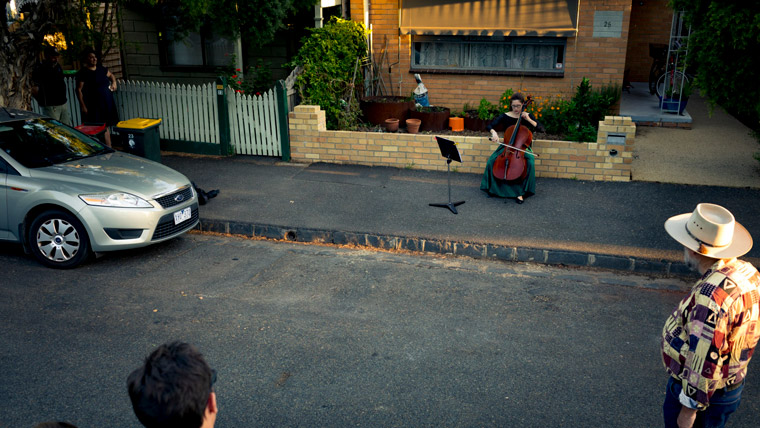 "Chamber musician Josephine Vains plays a social distancing ""concert"" for her neighbourhood in Melbourne's Brunswick."