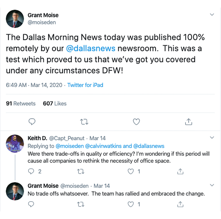 Dallas Morning News Publisher Grant Moise tweeted about the remotely published product on Saturday.
