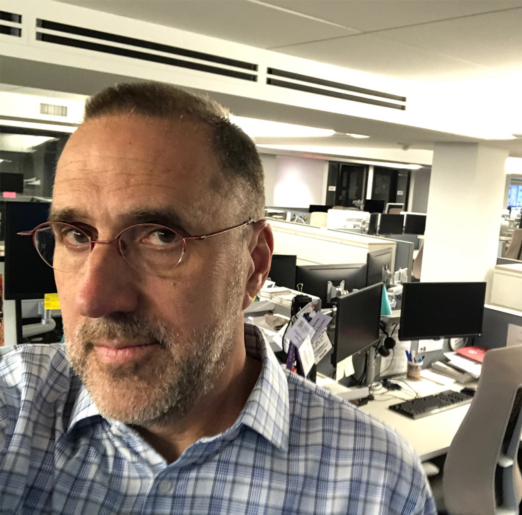 Dallas Morning News Editor Mike Wilson took a selfie in his empty newsroom Friday night.