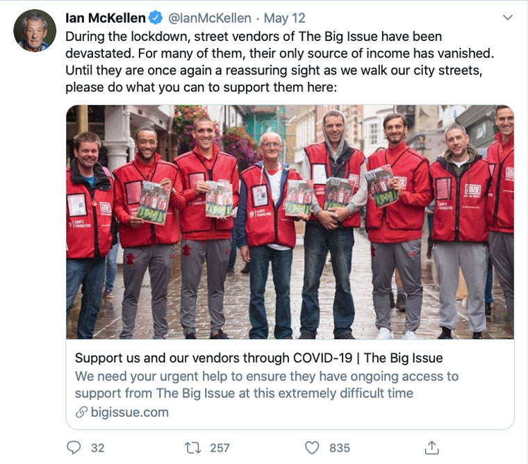 Sir Ian McKellen was one of many celebrities who Tweeted about The Big Issue campaign during COVID lockdown.