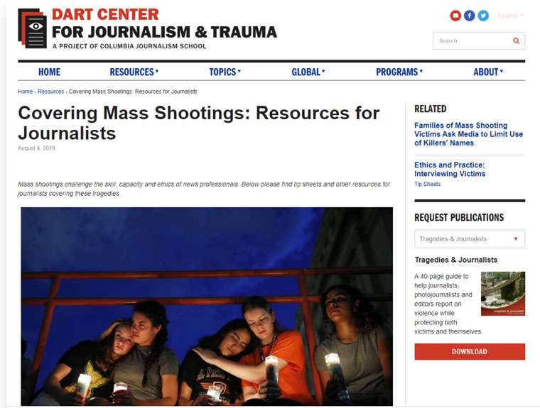 After the Christchurch mosque attacks, NZME developed learning materials based on content from the Dart Centre for Journalism & Trauma at Columbia.