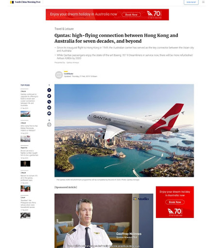 A video featuring interviews with pilots and content recapping Qantas' role in Hong Kong's travel past were key to the campaign.