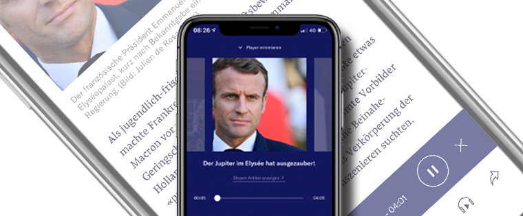 Control of the audio news item remains on a mobile locked screen so users can retain functionality. Once the audio version is selected, the news story begins to play on the mobile device while the main image and story heading is displayed.