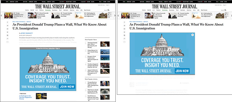 As part of the new model, 95% of prospective members now see introductory offers when reading a WSJ.com article — whether they visit the site directly (left) or access an article via social (right).
