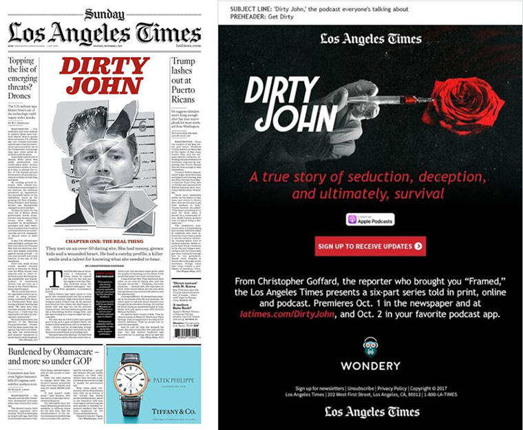 Los Angeles Times carefully planned ahead to cross-promote the series across various tronc channels to gradually build interest and suspense.