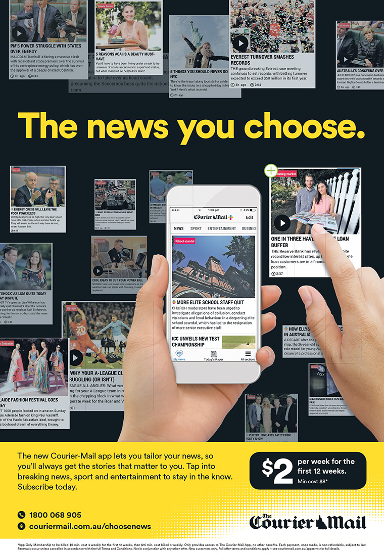 "News Corp Australia unveiled its new app-only subscription product with ""The news you choose"" campaign, which highlighted more robust personalisation features and a new low price point."