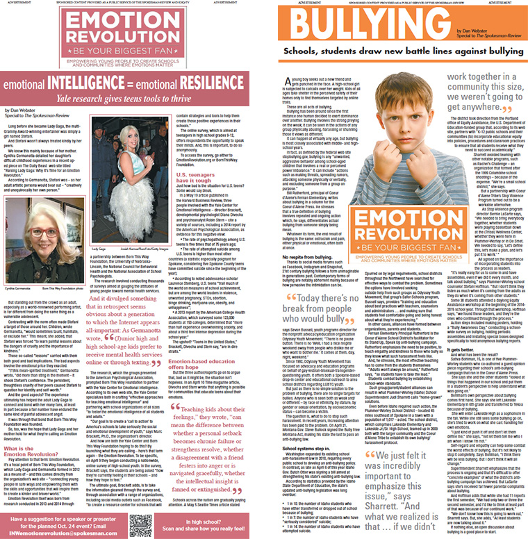 "Each spread focused on a different ""emotional IQ"" topic, without directly focusing on the topic of suicide. The goal was to reach teens, and others struggling emotionally, with messages of hope and help."