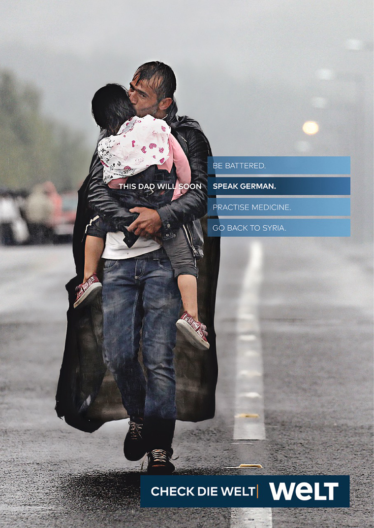 Welt used powerful images, like this Pulitzer Prize-winning image of a Syrian refugee and his daughter, with four possible headlines to choose from, demonstrating the complexity of world issues and need for quality journalism.