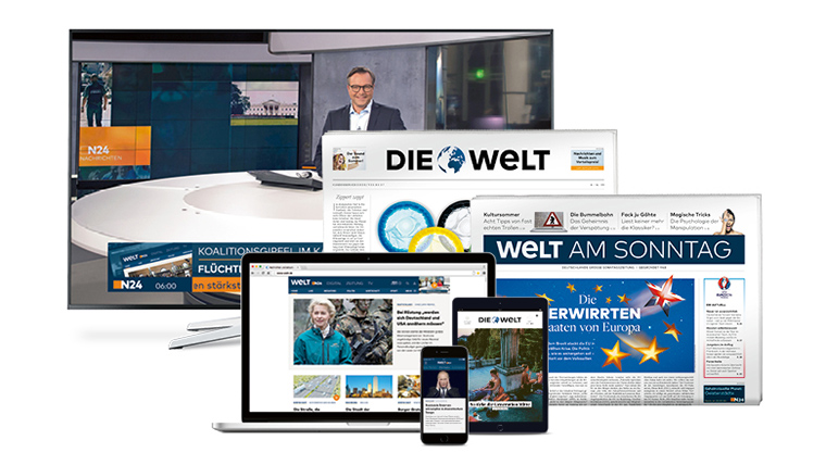 The new Welt brand merged various media companies into one portfolio that includes: Welt print, TV and digital, weekly newspaper Welt Am Sonntag, daily newspaper Die Welt, TV news channel N24, and their online presences.