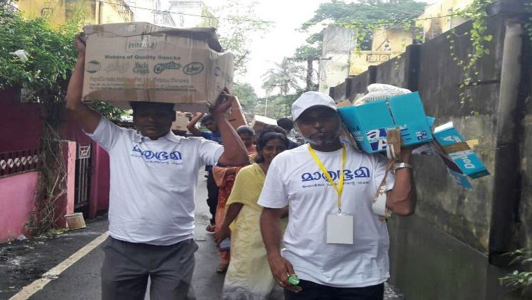 Mathrubhumi staff and volunteers distributed more than 1,100 tonnes of aid to Chennai.