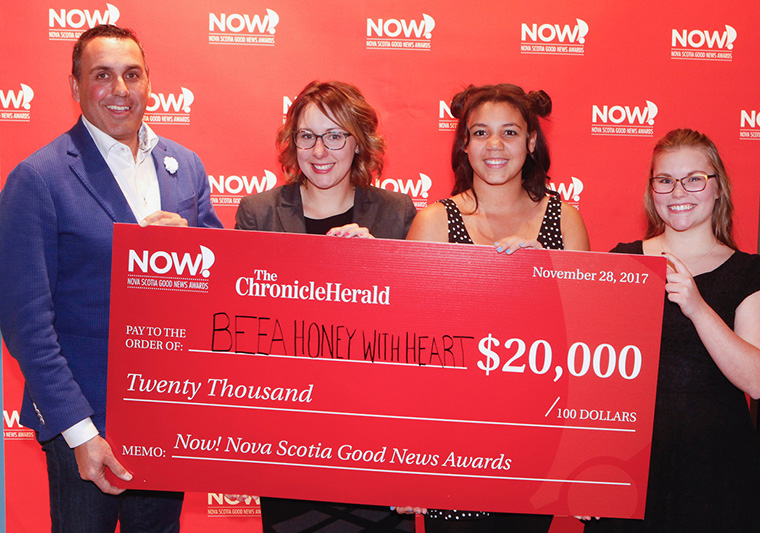 The Now! Nova Scotia Good News Awards presentation included a competition among the winners. The one who could best demonstrate that their work will lead to even more good news received a C$20,000 grand prize to fund further work.