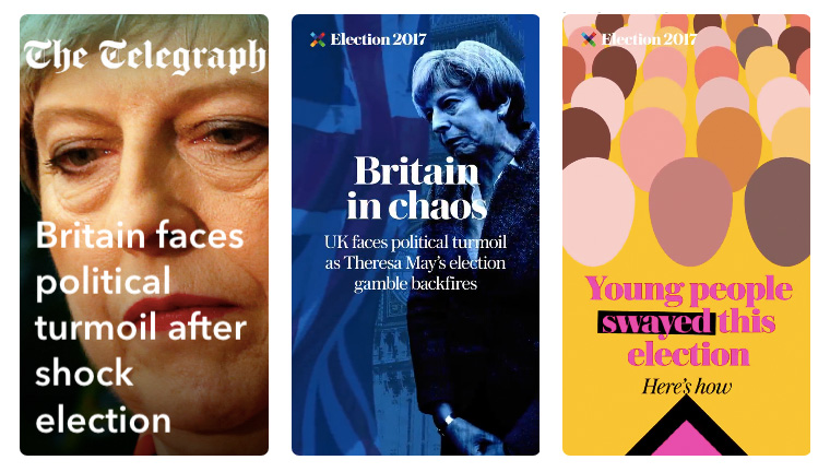 While The Telegraph focused on political content when they first joined Snapchat Discover, they quickly expanded their topical scope to include tech, foreign, business, and lifestyle.