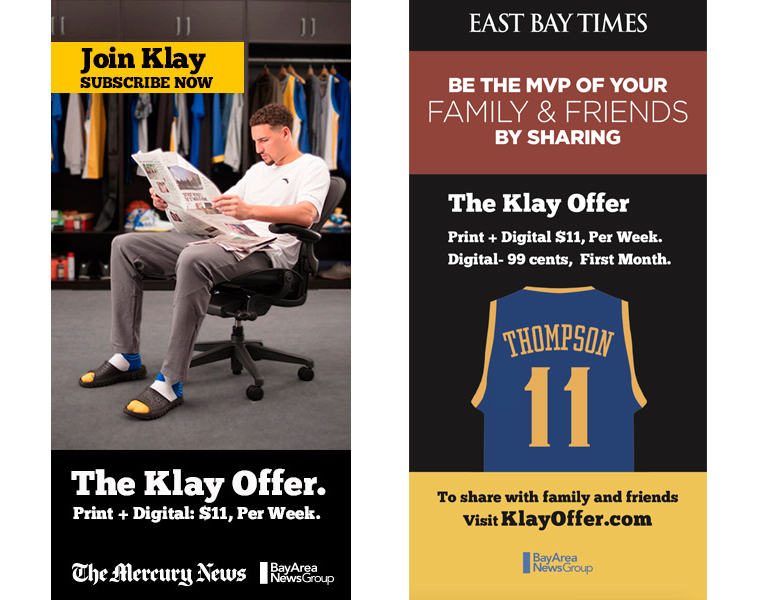 The cross-platform campaign featured Klay Thompson in everything from TV ads to billboards and social media to life-size cardboard cutouts at events.