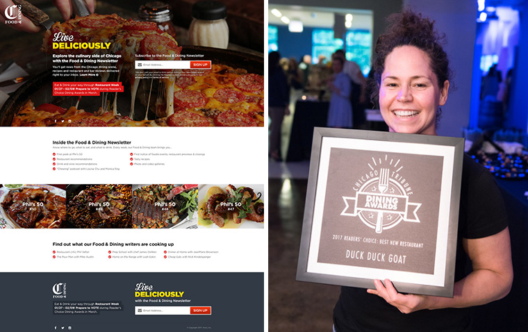 Chicago Tribune used its Food & Dining newsletter to gather more information about the audience they wanted to target with the Dining Awards campaign.