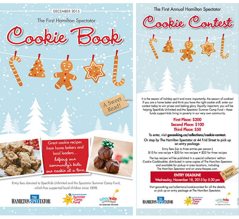The Hamilton Spectator Cookie Book provides great holiday recipes, advertising revenue, and charitable contributions for a kids' summer camp.