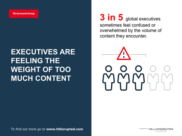Results of The Economist research found executives were awash in too much content.