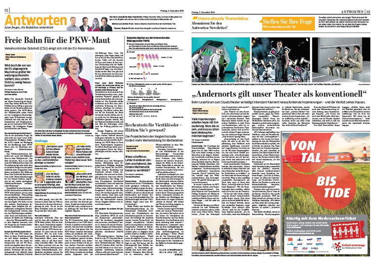 The Antworten section of Braunschweiger Zeitung newspaper is a forum for readers' questions.