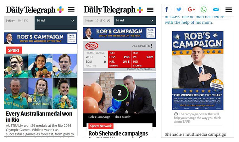 Rob's Campaign was promoted through print advertising and an online video series, with great success.