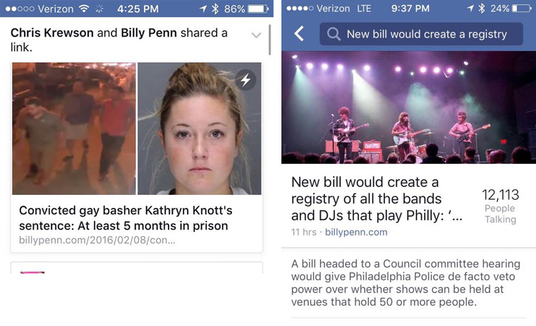 Instant Articles engages users with full-length articles, without ever leaving the Facebook app.