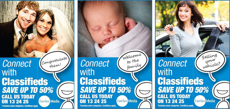 Connect With Classifieds targeted categories like weddings and baby announcements.