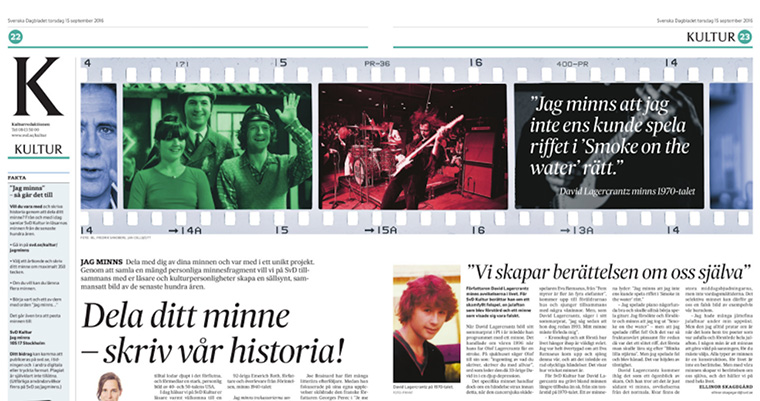 Svenska Dagbladet invited to readers to share the memories of their lives, resulting in thousands of intimate, touching moments.