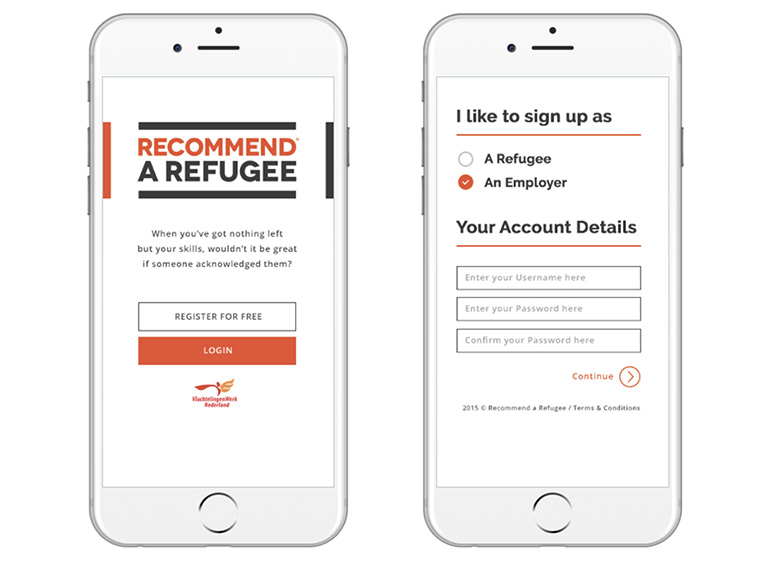 "The the ""Recommend a Refugee"" tool helps refugees and local companies find each other."