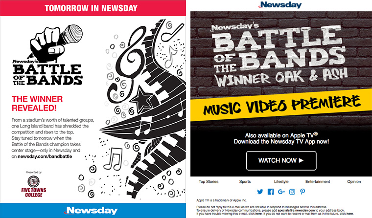 When Newsday invited local musicians to enter its Battle of the Bands contest, they had no idea how big it would get.