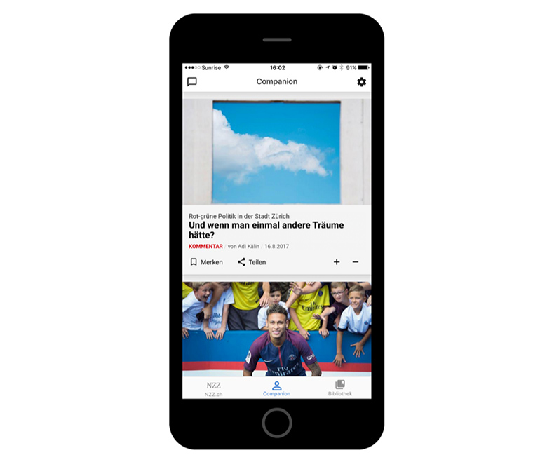 The NZZ News Companion works to build a personalised news product by determining the general relevance and personal relevance of its audience.