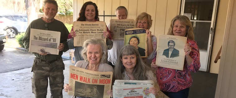 "Amy Chown visited with ""Mama"" Roberta Lee Whitley and her children about the important role of newspapers throughout their lives."