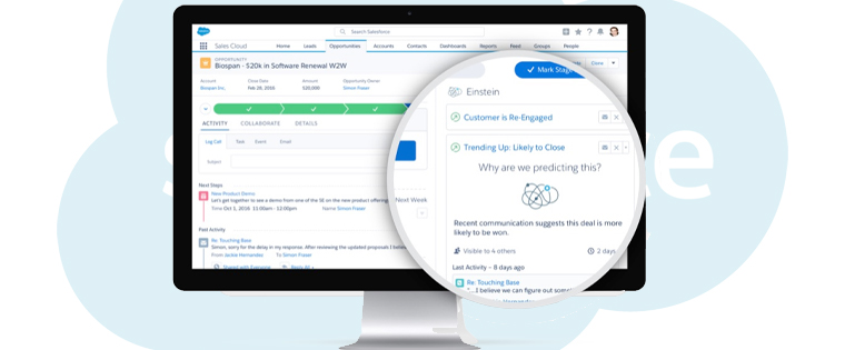 This display shows opportunity management in the Salesforce sales cloud.