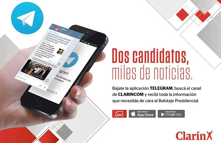 Clarin's messaging channel allowed users to subscribe and receive push notifications about the presidential election.