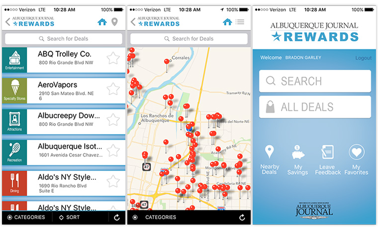 The JournalRewards app allows users to find nearby merchants offering discounts for Journal subscribers.