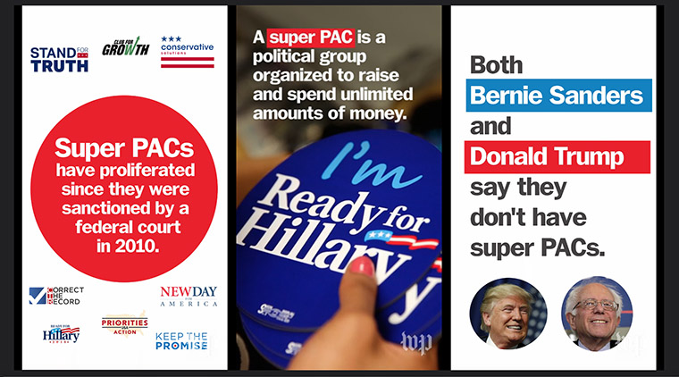 These frames from a video animation explaining super PACs demonstrate how some information is displayed more effectively in a vertical format.