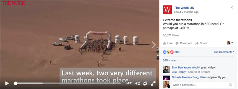Extreme Marathons is a video created by The Week for Facebook audiences.
