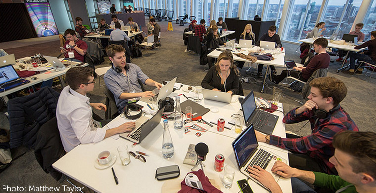 "Students work on collaborative projects at The Times ""Build The News"" event, now held four years running. (Photo by Matthew Taylor)"