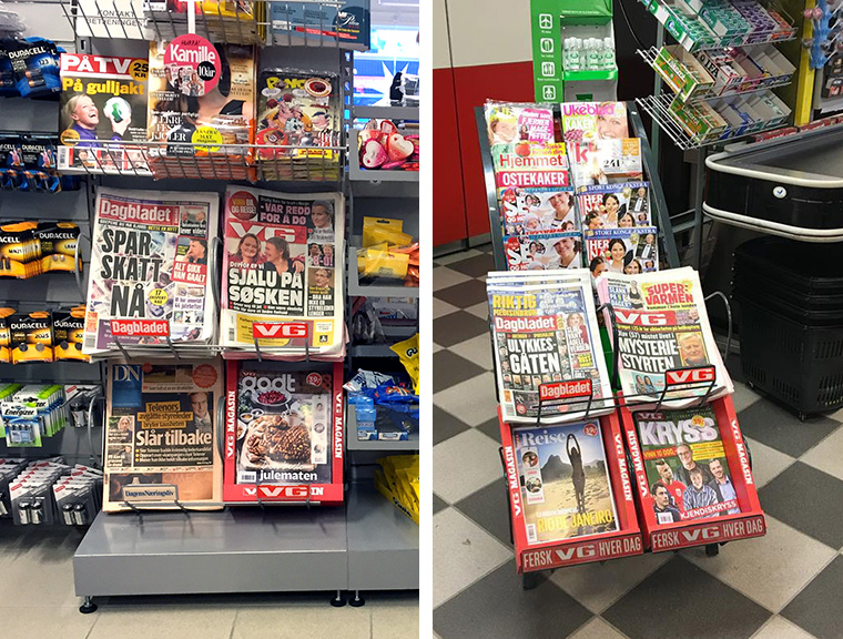 VG Godt is sold alongside the VG newspaper in grocery stores.