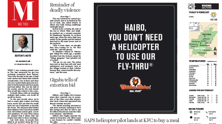 The playful print ads for Chicken Licken were placed directly next to news articles about the police helicopter incident.