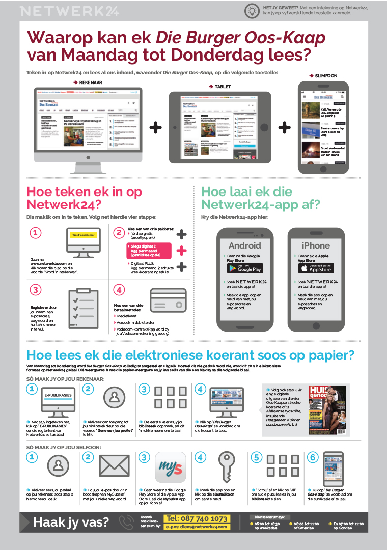 Die Burger went to great lengths to help ease the transition from print to digital for its older readers, complete with step-by-step guides like this one showing how to access Die Burger Ooskaap on Netwerk24.