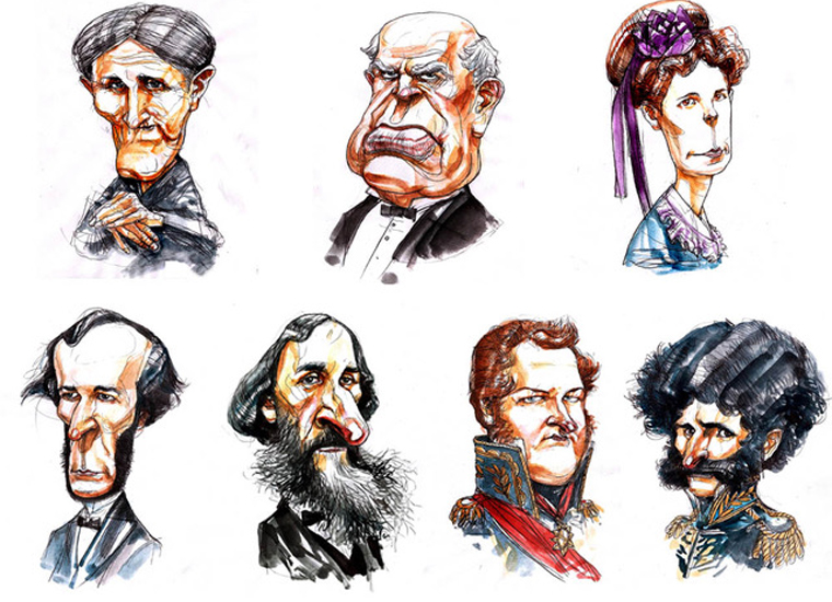The social media profile images of Sarmiento and the other historical figures were created by illustrator Gabriel Fernández, and behind them was the work of the Mendocinean historian Luciana Sabina.