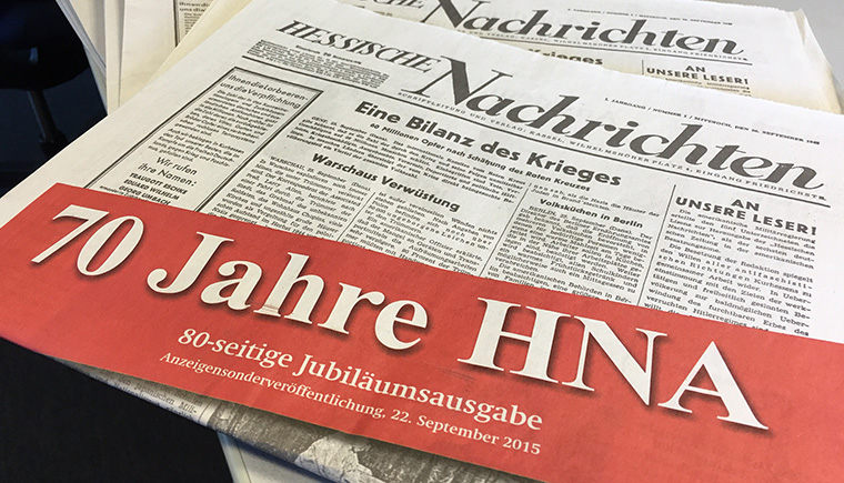 HNA began as Hessische Nachrichten in 1945. Its history was chronicled in detail in the 70th anniversary special edition, published in 2015.