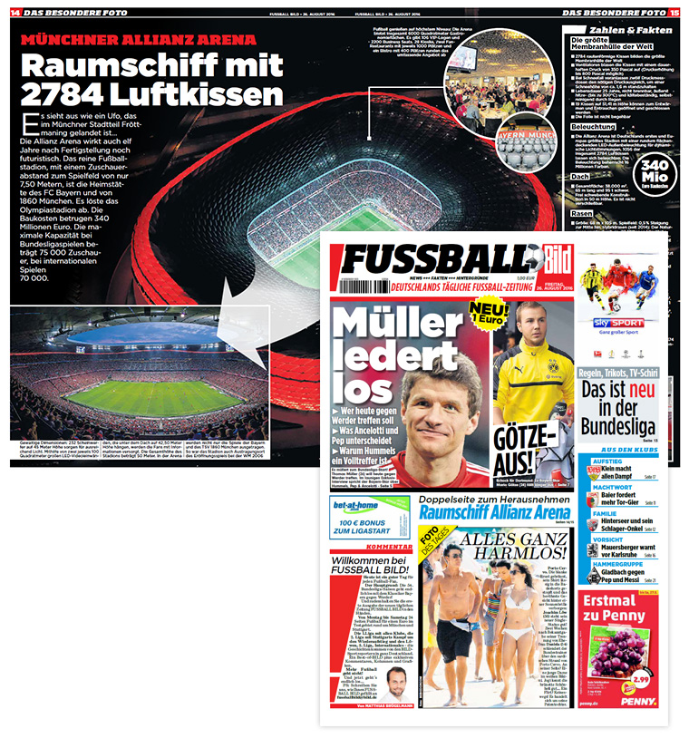 The first edition of FUSSBALL BILD was published on August 26, 2016, and featured a detailed infographic of the Allianz Arena.