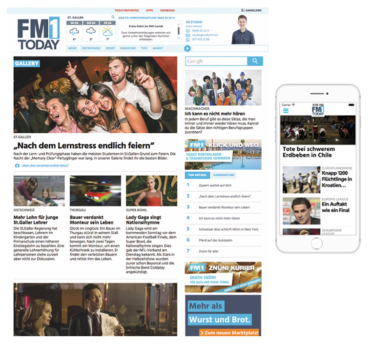 The FM1Today news portal was created in partnership with NZZ Mediengruppe in Switzerland. It was built on WordPress to streamline editorial processes on desktop and mobile devices.