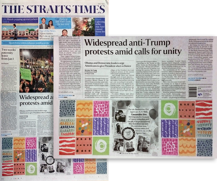 Readers can send personalised messages and well wishes on the front page news of main newspapers such as The Straits Times.