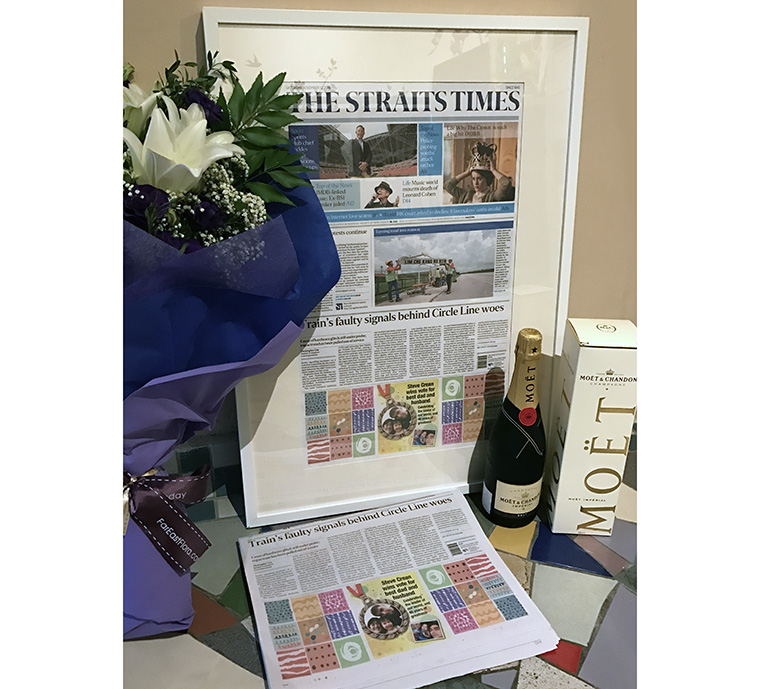 Recipients of Personalised Print get an exclusive, framed copy of the newspaper plus a bouquet of flowers and a bottle of champagne.