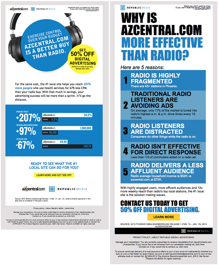 Research shows azcentral.com is more effective for ad placement than local radio; the media company just needed to share that information.
