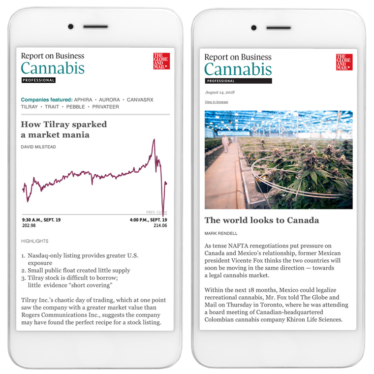 The Globe and Mail produces original content for cannabis industry insiders.