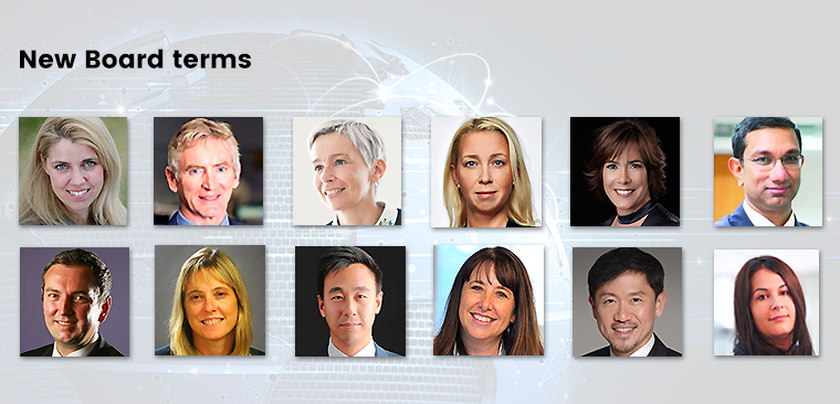 Elected to new INMA Board terms are, from left to right from top, Alexandra Beverfjord, Michael Doorly, Griet Ducatteeuw, Lotta Edling, Maria Eugenia Ferre Rangel, Sanjay Gupta, Chris Janz, Debby Krenek, Gary Liu, Rika Swart, Anthony Tan, and Suzi Watford.